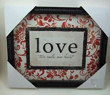 Vintage Look Love two souls one heart Glass Wall Picture Inspirational #33