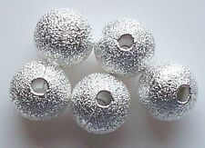 75pcs 8mm Round Brass Stardust Metal Spacers - Bright Silver
