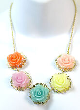 COLOURFUL FLOWER GOLDEN CHAIN STATEMENT NECKLACE BRAND NEW (CL3)