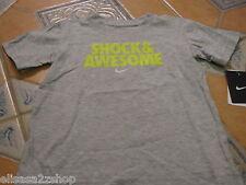 Boy's youth Nike T shirt NEW 4 kids smack Talk Shock & Awesome NWT grey heather