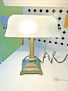Vintage Bankers Desk Lamp W/ White Frosted Glass Shade Student Piano Table Light