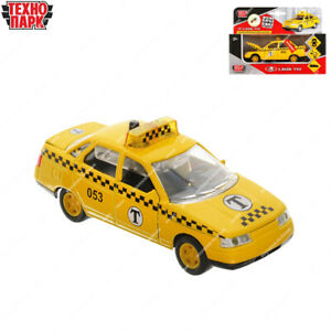 Tehnopark Diecast Vehicles Scale 1:43 Taxi Cab Lada 2110 Russian Toy Cars 12 cm