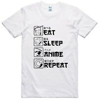 Mens Anime T Shirt Funny Design Eat Sleep Repeat Regular Fit 100% Cotton Tee