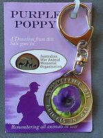 Purple Poppy Remembering All War Animals Utility Clip Keyring* Remembrance Day