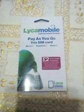 2×Brand New Lyca Mobile Pay as go sim  card Standard/Micro/Nano