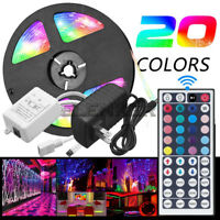 5M RGB 5050 Waterproof LED Strip light SMD 44Key Remote 12V US Power Adapter Kit