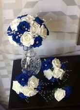 WEDDING FLOWERS BRIDE/MAID IVORY/ROYAL BLUE FOAM ROSE CRYSTAL  BOUQUET PACKAGE
