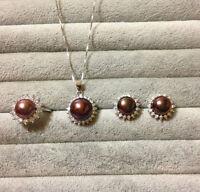 Genuine 8-9mm Cultured Freshwater Pearl Necklace Earring Set S925 Dark Purple