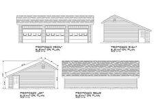 24'x38' Salt Box Garage Plans Blueprints 38'X24' Prints Plan # 17-2438Sb-01