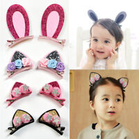 2pcs Baby Girls Cute Hair Clips Flowers Hairpins Rabbit Ears Barrettes For Kids