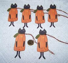Halloween~Primitive~Cat~Kitty~Fall~Paper Die Cut~Linen Cardstock~Gift~Hang~Tags