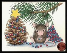 Christmas House Mouse Decorating Pinecone Tree Garland Christmas Greeting Card