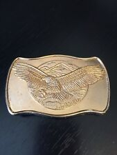 Eagle in Flight Belt Buckle Mountains Large Wing Span Gold Tone Numbered