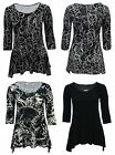 Bnwt Size 16 18 20 22 Gorgeous Black Cream Grey Prints 3/4 Sleeve Top Womens