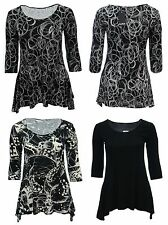 Bnwt Size 16 18 20 22 Gorgeous Black Cream Grey Prints 3/4 Sleeve Top Womens