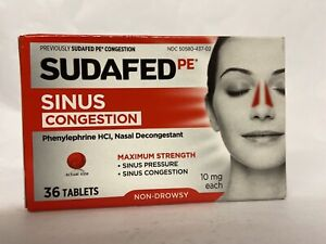 SUDAFED SINUS CONGESTION MAX STREGNTH 36 TABLETS EXP 2022
