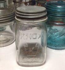 Vintage Knox w/ K in Keystone -Clear Pint Mason Jar with Zinc Lid- 👌