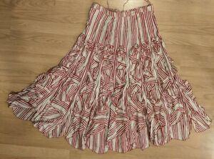 Cordelia Long Flair Striped Ruffle Red Tan White Skirt - S