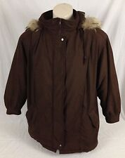Brown Bromley Sport DuPont Thermoloft Heavy Parka Coat Raccoon Fur