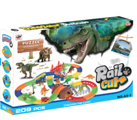 Dinosaur Jurrasic Park  5x Dinosaurs and  Puzzle +  Battery Car & tracks