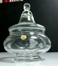 "Vintage Crystal 7.5"" Candy Box Jar Apothecary Cut Floral Design Made in Romania"