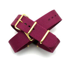 Maroon / Burgundy Nato / Nylon Watch Strap : Gold Buckle & Keepers: 20mm (FL193)
