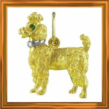 SALE J ROSSI solid 18k gold French poodle pendant, 13.7 grs., emeralds M-F