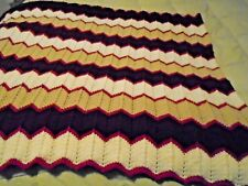 Knit Blanket, Hand Knit Throw Lap Blanket, Knitted Yarn Afghan Multi Color