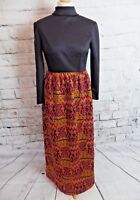 Vintage 1970s maxi dress Size 10 black orange purple woven long sleeve high neck