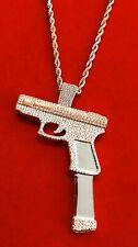 Pistol Gun Pendant Charm W/22�Rope Chain Men's 14K White Gold Finish Bust Down