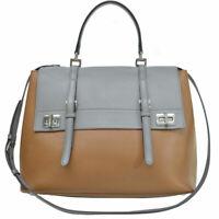 Auth PRADA 2-Way Handbag Shoulder Bag Gray/Brown Leather/Silvertone - r8191a