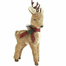 "STANDING REINDEER WITH PLAID SCARF, NEW, SISAL,16"" TALL, WINTER, NATURAL"