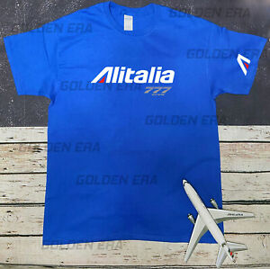 Alitalia Airlines A330 and B777 Crew Logo T-Shirt 100% Cotton Size S,M,L,XL,2XL