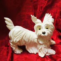 Vintage Ceramic White Terrier Dog Figurine Westie Skye West Highland 11 Inch