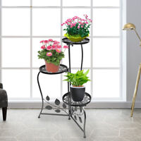 Black Wrought Iron Metal Plant Stand Holds 3 Flower Pot Rack Indoor Outdoor USA
