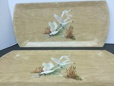 Vintage Haskelite Coronet Buffet Trays - Waterfowl Design Lithograph Set Of 2