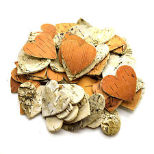 60 pcs Large Birch Tree Bark Hearts Wooden Shapes Crafts Home Venue Rustic Decor