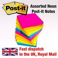 1200 Assorted Neon Post It Notes, Removable Colour Sticky Paper Pad 76mm x 76mm