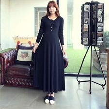 New Pregnant Women Dress Maxi Long Sleeve Maternity Dress Button Front Clothes