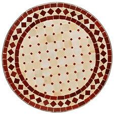Marocain Bistrotisch Table en Mosaïque Plateau à Thé D60cm Rond Beige/Bordeaux
