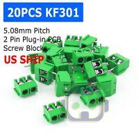 20pcs KF301-2P 2 Pin Plug-in Screw Terminal Block Connector 5.08mm Pitch M211