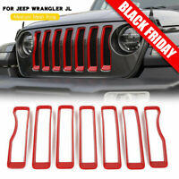 7PCS Front Grille Grill Insert Cover Trim For 2018 2019 Jeep JL Rubicon Sahara