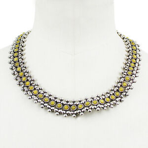 Philippe Audibert Silver & Umber Yellow Collar Necklace