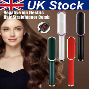 Negative ion Electric Hair Straightener Curler Lazy Comb Hot Flat Artifact Brush