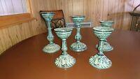 Vintage Set of 5 Metal Candle Holders