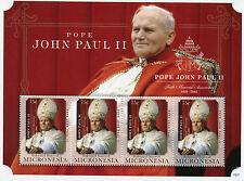 Micronesia 2015 MNH Pope John Paul II 1920-2005 10th Memorial Anniv 4v M/S Popes