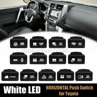 12V White LED Horizontal On Off Push Button Switch For Toyota Landcruiser Hilux