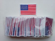 "50 USA American Flag (W)  Embroidered Patches 3.5""x2.25"" iron-on"