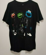 Sesame Street Mens Black T Shirt Elmo The Grouch Cookie Monster Size Large