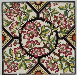 Lovely Transfer Printed and Hand-tinted Tile By Copeland